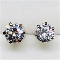 10K Yellow Gold Cubic Zirconia Stud Earrings