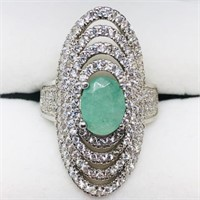 S Emerald Cubic Zirconia Ring