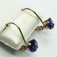 14K Yellow Gold Amethyst Earrings