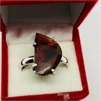 Silver Ammolite Ring
