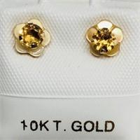10K Yellow Gold Citrine(0.3ct) Earrings