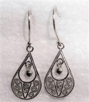 Sterling Silver Antique Design Drop Style Earrings