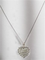 Sterling Silver 'Je T'aime' Heart Shaped Pendant