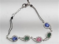 Sterling Silver Ruby,Sapphire ,Emerald and CZ