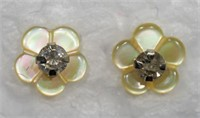 14K Gold Diamond (0.072ct) with Mother of Pearl