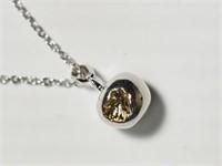 Sterling Silver Rodium Plated Diamond Apple Shaped