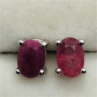 Sterling Silver Ruby  Earrings.