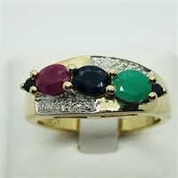 Gold plated Sterling Silver Sapphire Ruby Emerald