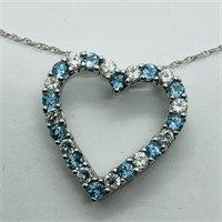 Sterling Silver Blue Topaz  Necklace.
