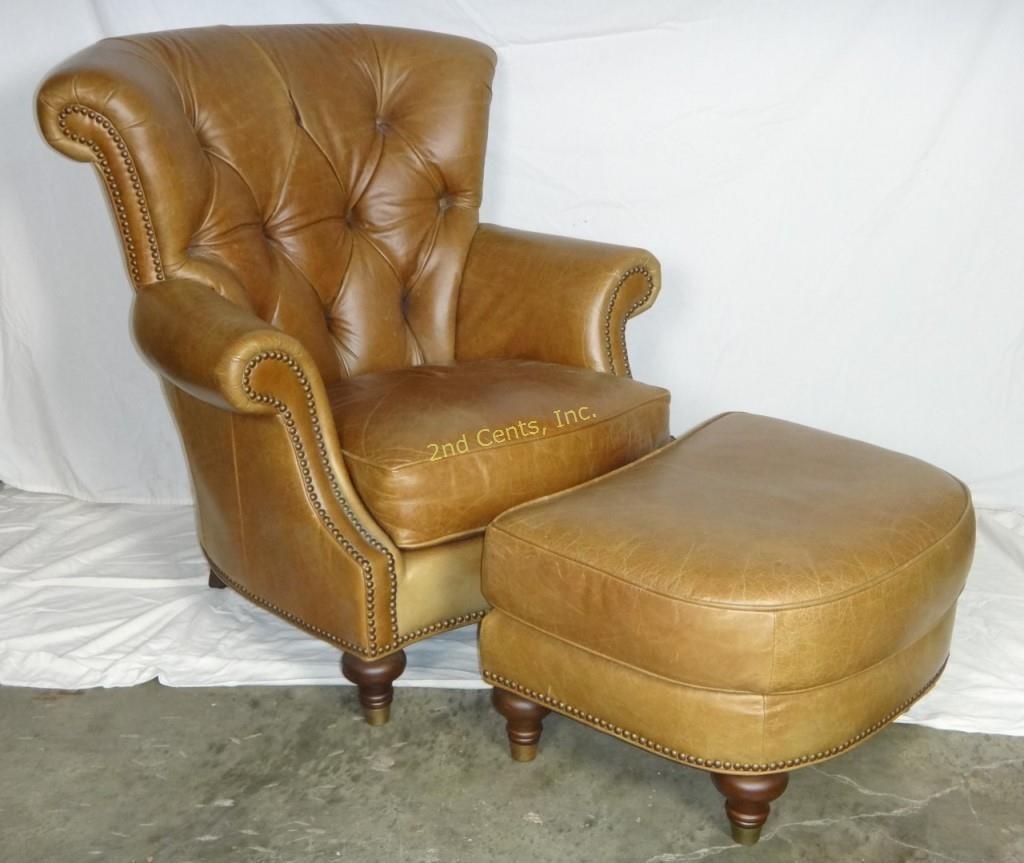 Brilliant Premium Fine Leather Living Room Chair Ottoman 2Nd Cents Inc Creativecarmelina Interior Chair Design Creativecarmelinacom