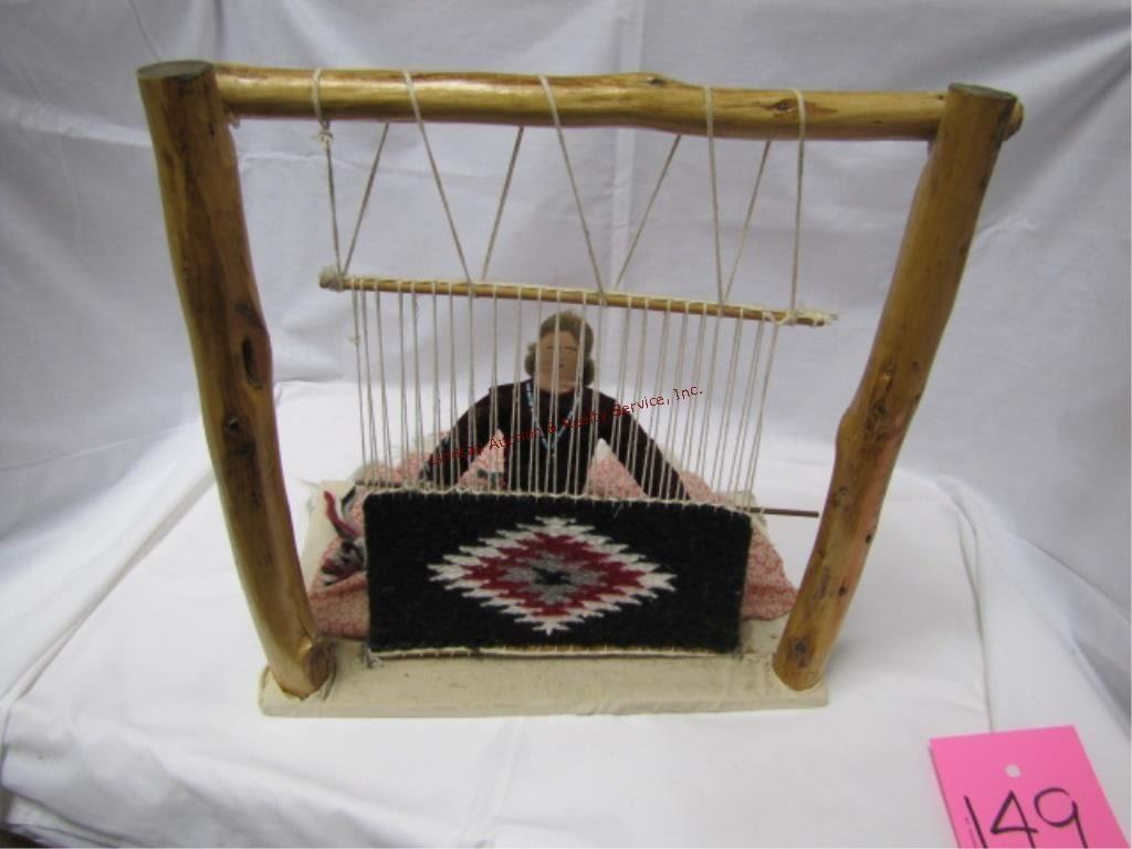 Native American Navajo rug weaving w