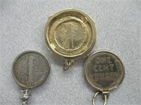 Modified Wheat Penny And Dimes Made Into Pendants