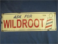 """Enamel """"Ask For Wildroot"""" Sign 17"""" x 5 1/2"""