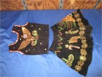 Vintage Black Western Vest and Skirt For Little