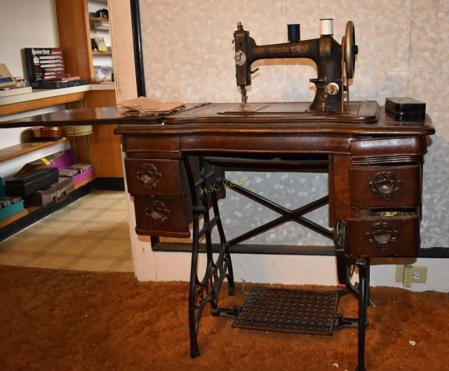 Antique White Treadle Sewing Machine In