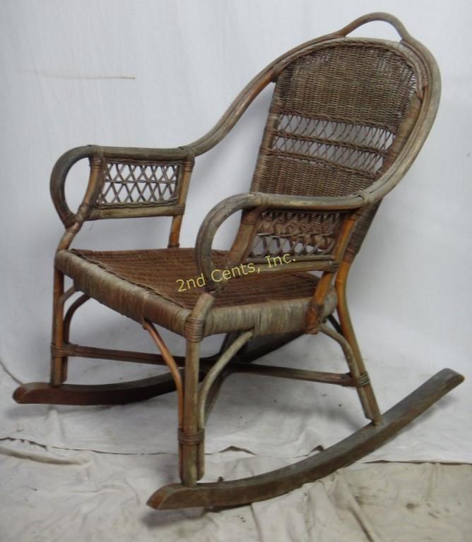 Cool Antique Rare Bentwood Rattan Rocking Chair 2Nd Cents Inc Lamtechconsult Wood Chair Design Ideas Lamtechconsultcom