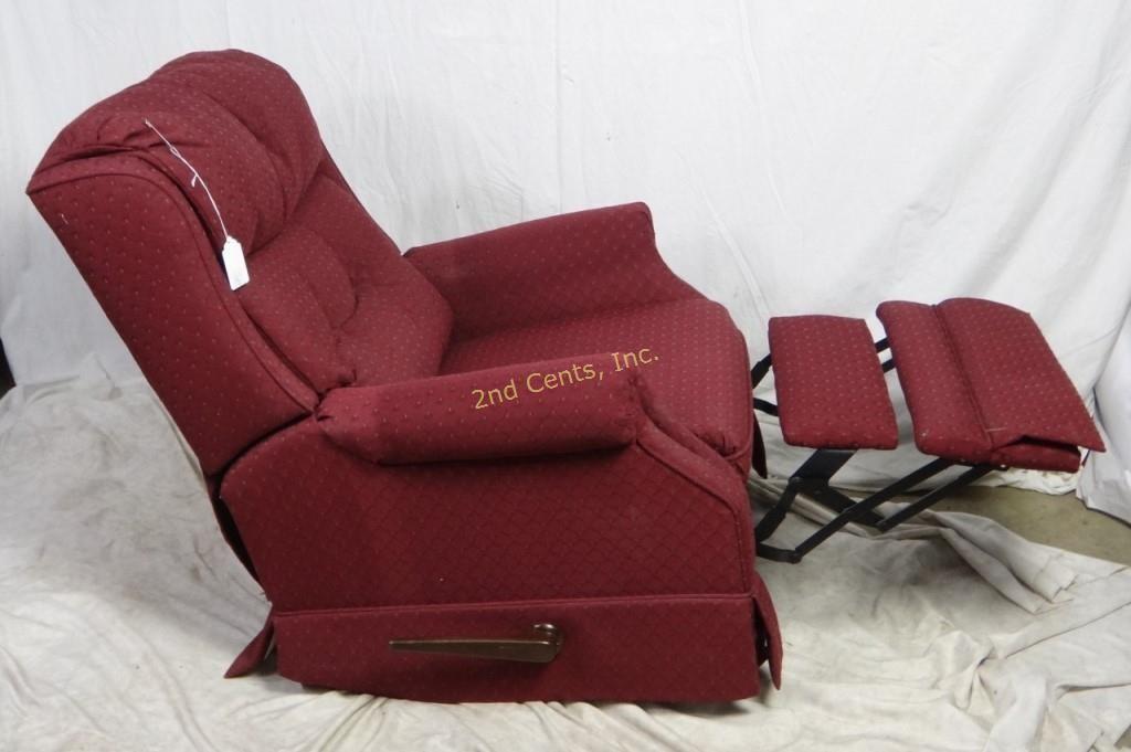 Brilliant Lane Burgundy Cloth Swivel Rocker Recliner Chair 2Nd Cents Inc Machost Co Dining Chair Design Ideas Machostcouk