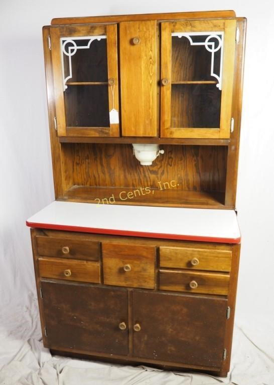 Antique Red Hoosier Cabinet W Flour Sifter 2nd Cents Inc