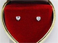10KT Gold Set Earrings With Heart Shaped Cubic Zir