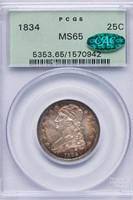 25C 1834 PCGS MS65 CAC