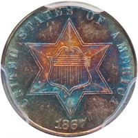 3CS 1867 PCGS MS67 CAC