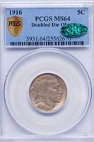 5C 1916 DOUBLE DIE OBVERSE. PCGS MS64 CAC