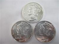 3) .5oz 999 Fine Silver Coins