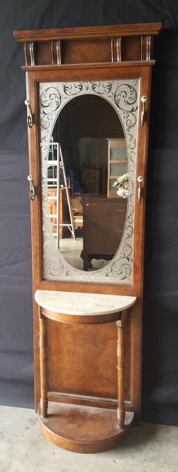Vintage Hall Tree With Etched Glass Mirror Live And Online Auctions On Hibid Com