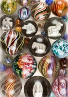The Sisson Collection of over 500 antique marbles, including many rare swirl, onionskin, and sulphide examples