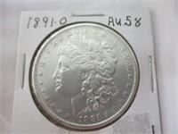 1891-O Morgan Silver Dollar, Au58