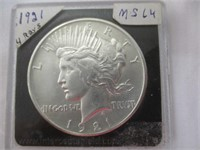1921 Silver Peace Dollar (4-Rays) Uncirculated