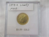 1898-S Liberty Gold $5 Coin, MS63 Uncirculated