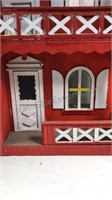 Vintage wood 2 story Victorian style doll