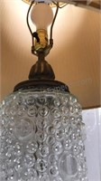 Glass Table Lamp with shade 33in tall round metal