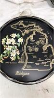4pc Lot Of Vintage Round Metal State Map Souvenir