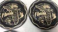 "Vintage Florida Metal Coaster Lot of 4 3 1/2"""
