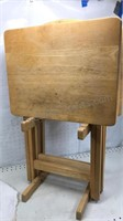 4pc Wood TV / Craft Tray Set With Stand