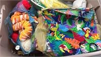 Plastic Tote Full of Fabric / Yarn / Sewing /
