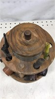 Vintage Wooden Pipe Holder with glass tobacco jar