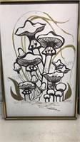 Lot of 2 Marad Canvas Framed Mushroom Prints