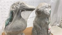 Lot of 2 Small Cement Garden Art Animals Duck and