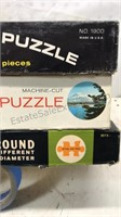 Lot of 3 Vintage Round Jigsaw Puzzles open boxes