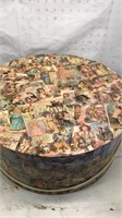 Large Round Cardboard Hatbox with Vintage