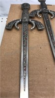 Vintage Wall Art 2 Metal Swords and wooden shield