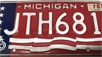 Matching Set of  of 2-1976 Michigan License Plates