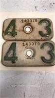 Matching Set of 1943 License Plate Tags 2pcs