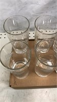 """Set of 8 Etched Barware Glasses 5"""" tall"""