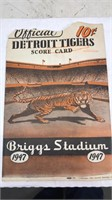 1947 Detroit Tigers Score Card Briggs Stadium 9
