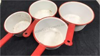 Antique White / Red Enamel Cooking Set 4pcs
