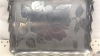 Lot of 4 Vintage Stamped & Etched Aluminum Trays